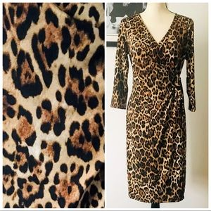 NWOT! NY COLLECTION LEOPARD PRINT FAUX WRAP MIDI